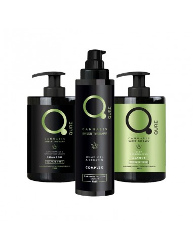 Qure Cannabis Complete Sheer Therapy Bundle (Shampoo 300ml & Mask 300ml & Complex 100ml)